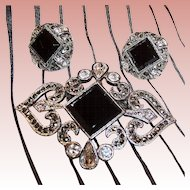 Monet Rhinestone & Marcasite Brooch & Earrings Set