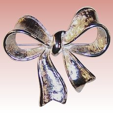 Vintage Silvery Napier Bow Pin