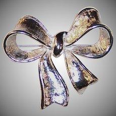 Vintage Silvery Napier Bow Pin