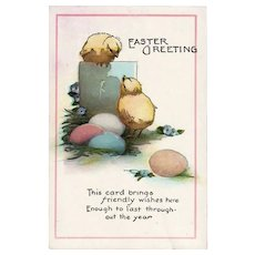 Vintage Unused Easter Greeting Postcard Chicks and Eggs