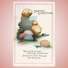 Vintage Unused Easter Greeting Postcard Chicks and Eggs