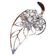 Rhinestone Leaf Pin / Pendant
