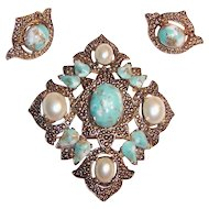 C. 1968 Sarah Coventry Remembrance Brooch, Pendant, Earrings Set