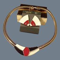 Trifari Modernist Enamel Earrings & Omega Chain Necklace