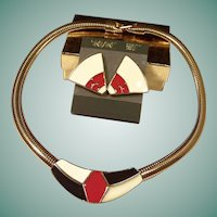 Trifari Modernist Enamel Earrings & Omega Chain Necklace