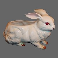 Vintage Lefton White Albino Bunny Rabbit Planter or Candy
