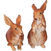 LARGE Set of 2: Lefton Brown Bunny Rabbits H6661