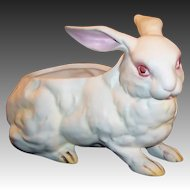 Vintage Lefton White Albino Bunny Rabbit Planter / Candy / Figurine H 3241