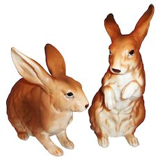 TWO LARGE Lefton Brown Bunny Rabbits H6661 --perfect for Easter, Spring or the Baby Nursery