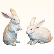 Set of 2 LARGE: Lefton White Albino Bunny Rabbits H6660