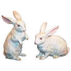Set of 2 LARGE: Lefton White Albino Bunny Rabbits H6660