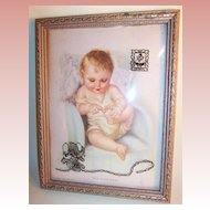 """Charlotte Becker 9"""" Lithograph """"THIS LITTLE PIGGY"""" Reverse Painted Convex Frame"""