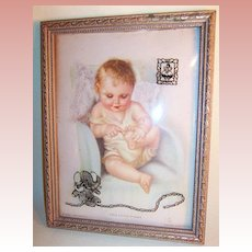 "Charlotte Becker 9"" Lithograph ""THIS LITTLE PIGGY"" Reverse Painted Convex Frame"