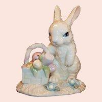 Lenox Easter Bunny Rabbit Basket Eggs Tulips Figurine