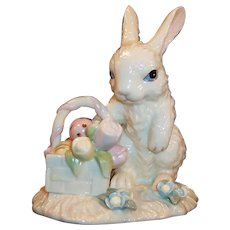 Lenox Easter Rabbit Basket Eggs Tulips Figurine