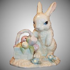 Lenox Easter Rabbit Basket Eggs Tulips Figurine