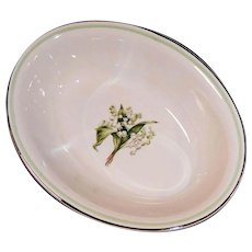 Homer Laughlin Lily of the Valley Eggshell Nautilus Oval Serving Bowl