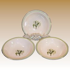 SET of 3: 1940's Laughlin Lily of the Valley Fruit / Berry Bowls