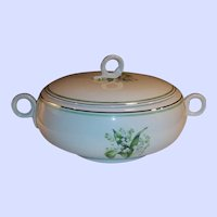 Large Homer Laughlin Lily of the Valley Eggshell Swing Covered Serving Bowl