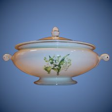 Large Homer Laughlin Lily of the Valley Eggshell Nautilus Covered Serving Bowl