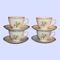 Set of 4: Homer Laughlin Lily of the Valley Eggshell Nautilus Cups & Saucers