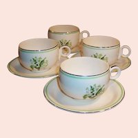 SET OF 4: Homer Laughlin Swing Lily of the Valley Cups & Saucers