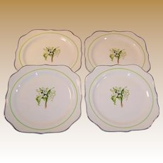 """SET OF FOUR: Homer Laughlin Lily of the Valley 8"""" Square Luncheon (or Salad) Plates"""