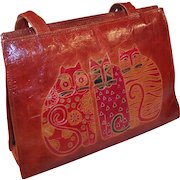 "Vintage Leather Laurel Burch ""Feline Friends"" Purse"