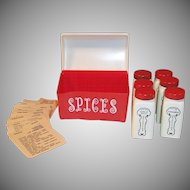 SALE!  Red Lustro-ware Spice Box with Griffiths Spices & Recipes