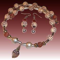 OOAK Handcrafted Silver Calla Lily Flower Garden Necklace Earrings Set