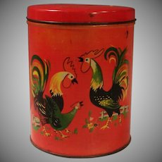 Vintage Luzianne Coffee Tin with Roosters