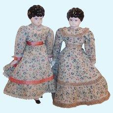 "TWO: Vintage 10 1/2""  China Head Cloth Dolls --  Pioneer Sisters"