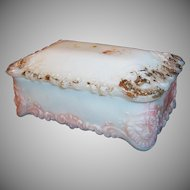 Victorian Milk Glass Vanity Jar  / Dresser Trinket Box With Lion Heads