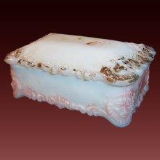 Victorian Milk Glass Vanity Jar  / Dresser Trinket Box With Lion Heads
