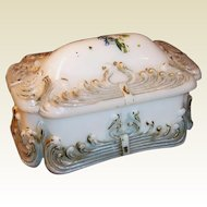 Victorian Milk Glass Dresser Jar Trinket Box Dish
