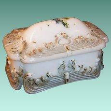 Victorian Milk Glass Dresser Jar Trinket Box Dish