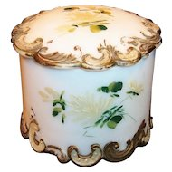 Victorian Milk Glass Round Dresser or Vanity Box / Jar