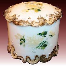 Victorian Milk Glass Round Dresser or Vanity Box / Jar