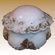 Victorian Round Milk Glass Vanity Jar Dresser Trinket Box Dish