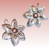 Mixed Metal Flower Earrings