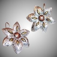 Mixed Metal Flower Earrings