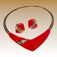 Monet Chevron Modernist Necklace & Earrings