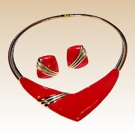Monet Chevron Modernist Necklace & Earrings