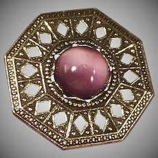 Signed Miracle Pin Amethyst Glass Agate Antiqued Gold Finish