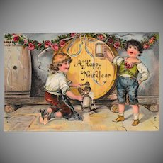 Antique German Boys Tapping A Keg Happy New Years Postcard
