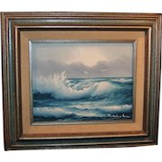 Vintage Original Seascape Painting On Canvas; J. Winslow