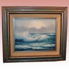 Vintage Original Seascape Painting On Canvas; J. Winslow