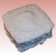 Fostoria Jenny Lind Milk Glass Handkerchief or Powder Box