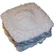 Fostoria Jenny Lind Milk Glass Handkerchief or Powder Box