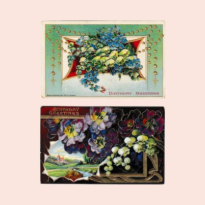 TWO Antique Embossed Birthday Greeting Postcards; Printed Germany